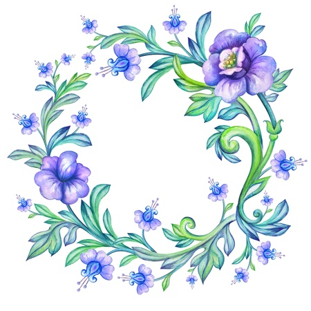 round watercolor frame with floral border photo