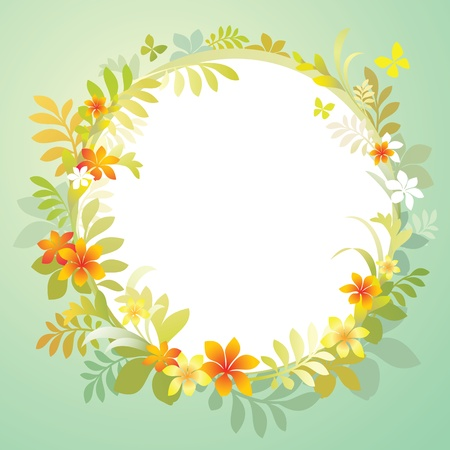 decorative round blank frame with flowers and green leaves photo