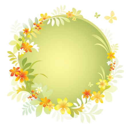 topical: round frame with topical flowers and leaves, vector foliage background Stock Photo