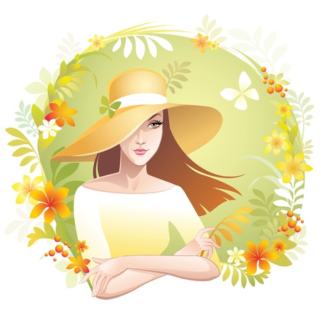beautiful young woman wearing hat, vector illustration illustration