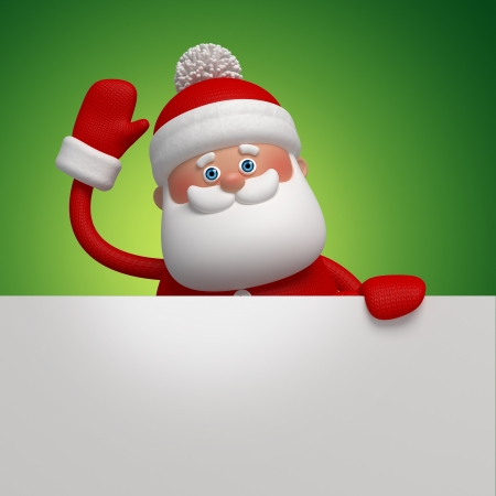 cute funny Santa Claus, 3d character holding white board photo