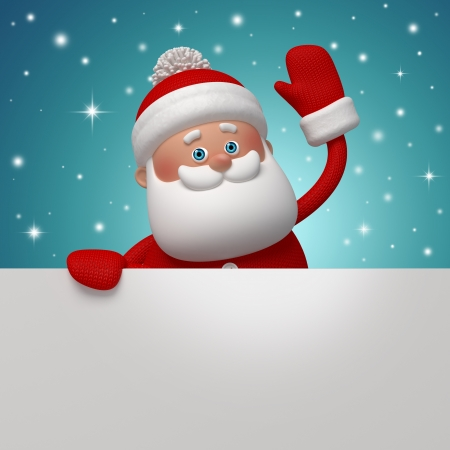 new look: cute funny Santa Claus, 3d character holding blank page