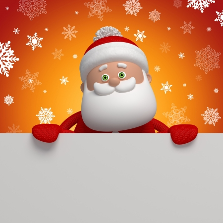 cute funny Santa Claus, 3d character holding blank banner photo