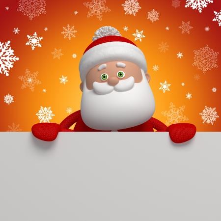 weihnachtsmann lustig: cute funny Santa Claus, 3D-Charakter holding blank banner