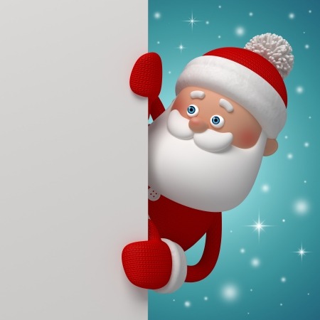 cute curious Santa Claus, 3d character holding blank page photo