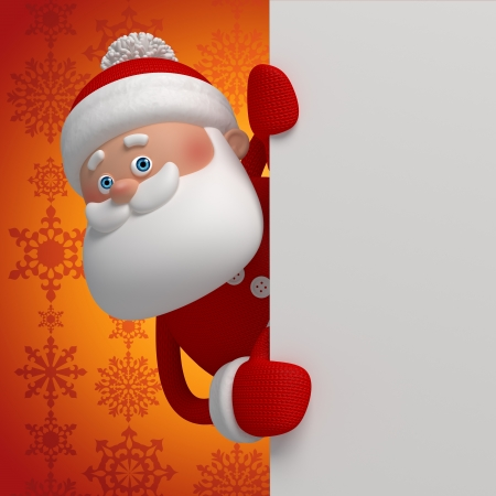 christmas costume: cute funny 3d Santa Claus cartoon appearing from the corner