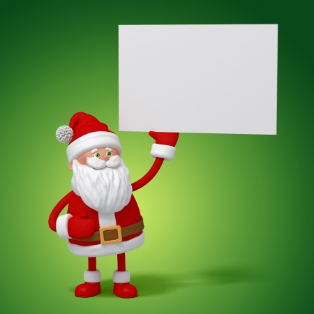 funny cute 3d Santa Claus holding blank message banner photo