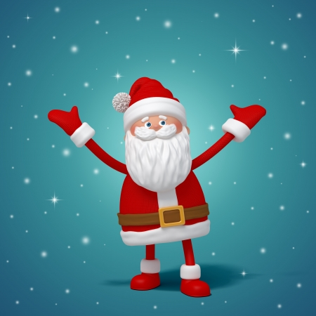 santa costume: cute funny 3d Santa Claus cartoon standing, hands up
