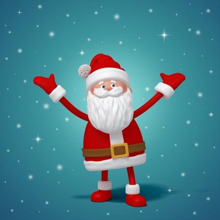 leuk grappig 3D Kerstman cartoon staand, handen omhoog