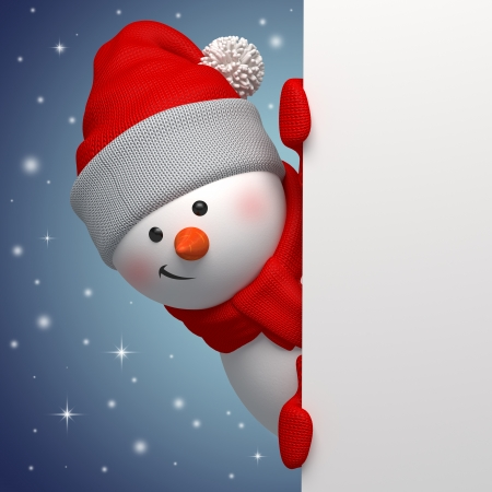 christmas backgrounds: 3d cute funny snowman character holding blank banner