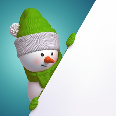 navidad: 3d cute funny snowman character holding blank page corner Stock Photo