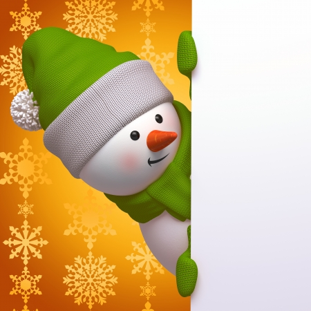 knitted background: cute funny curious snowman, 3d character holding blank page Stock Photo