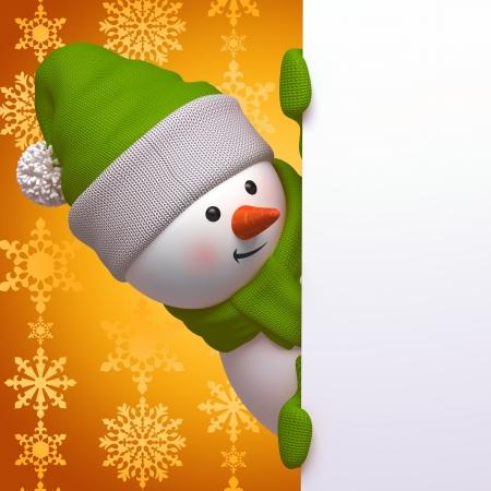weihnachten gold: cute funny neugierig Schneemann, 3d Zeichen halten leere Seite