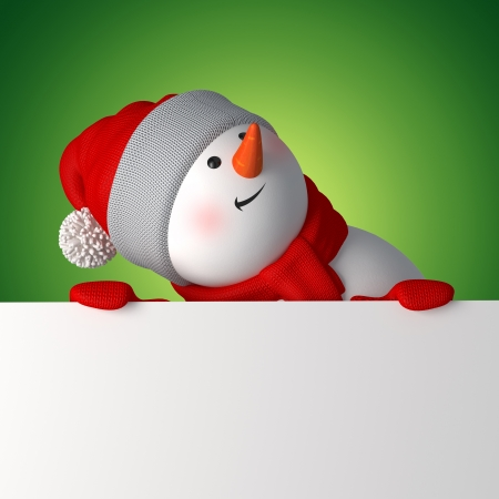 3d snowman looking up, holding blank Christmas banner