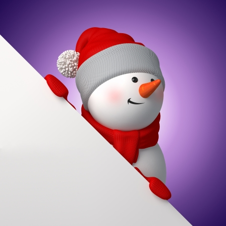 3d Christmas snowman looking up behind the page corner
