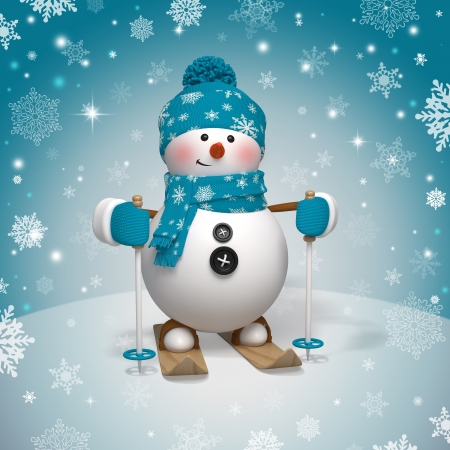 winter sport: 3d Christmas cartoon character, skiing snowman