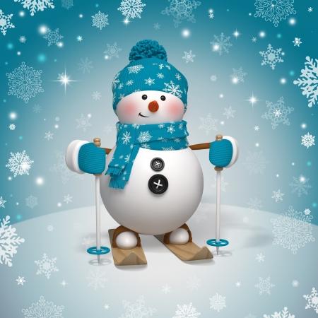 bonhomme de neige: 3d personnage de dessin anim� de No�l, bonhomme de neige de ski
