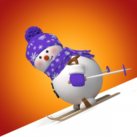 3d Christmas cartoon character, skiing snowman photo
