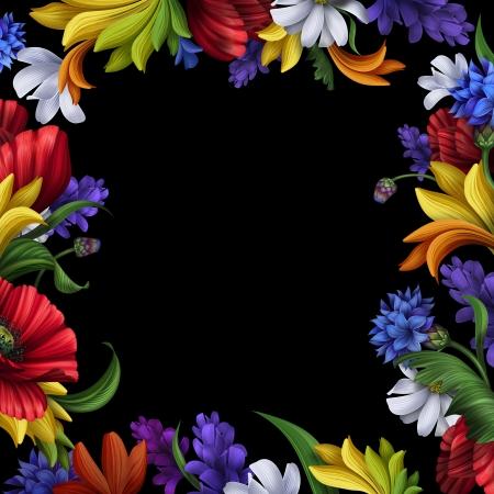 flowers frame isolated on black background photo