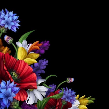 esquineros de flores: ilustraci�n de flores populares, elemento de dise�o esquina en negro Foto de archivo