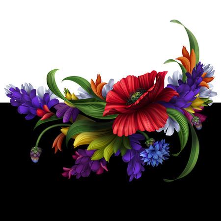 bordure de page: Folk fleurs illustration, �l�ment de design