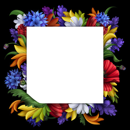 folk ornate flower frame illustration isolated on black illustration