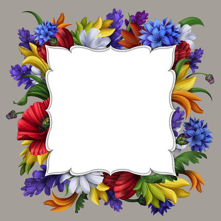 華やかな花のフレームの図 写真素材