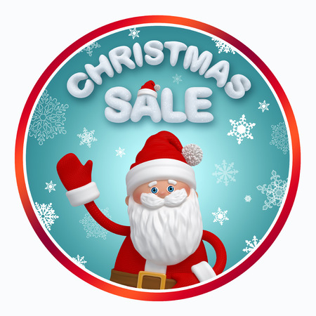 round Christmas sale label with 3d Santa Claus photo