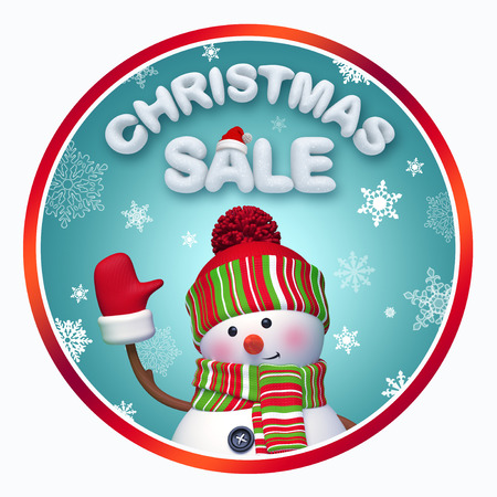 round Christmas sale label with 3d snowman photo