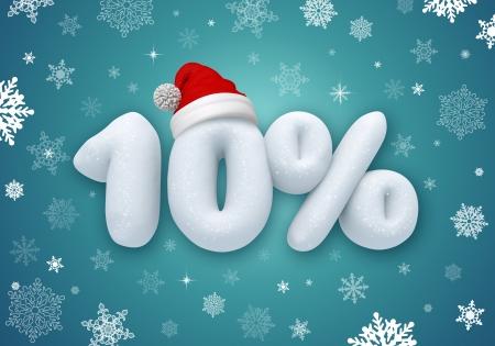 numero diez: precio reducido, etiqueta de descuento Venta de la Navidad, el número de la nieve 3d