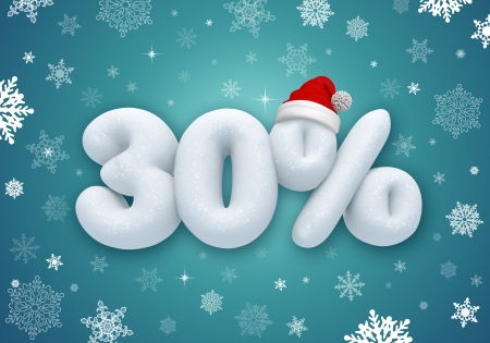 30: reduced price, Christmas sale discount label, 3d snow number