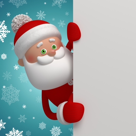 3d Santa Claus holding white page, christmas banner