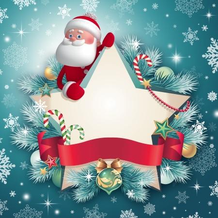 estrella de navidad: Plantilla de tarjeta de felicitaci�n de Navidad, bandera de la estrella y Santa Foto de archivo