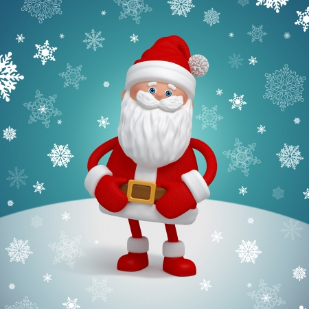 cute funny 3d toy Santa Claus on winter background photo