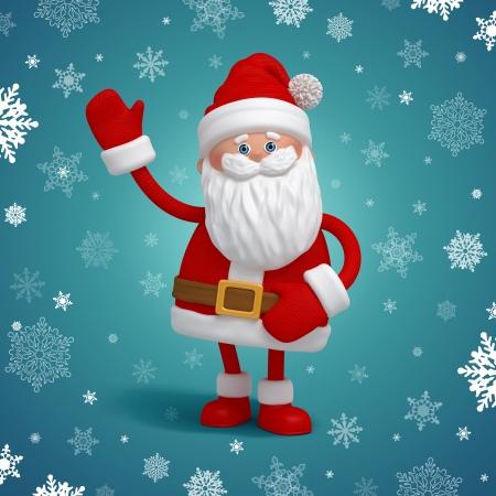 3d cartoon, cute funny Santa Claus salutation