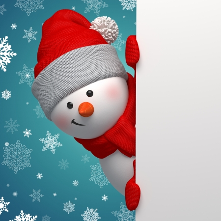 3d Snowman holding blank page, Christmas banner Stock Photo