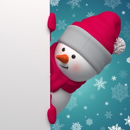 白いページを保持している 3 d クリスマス雪だるま 写真素材