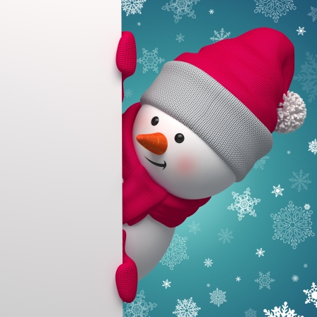 3d Christmas Snowman holding white page photo