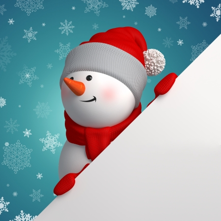 3d Christmas Snowman holding white page corner photo