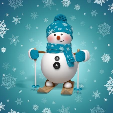 3 d スキー雪だるまクリスマスのグリーティング カード 写真素材