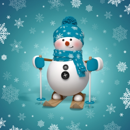 3d skiing snowman Christmas greeting card Stok Fotoğraf