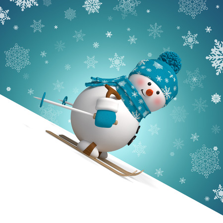 snowman: 3d skiing snowman Christmas greeting card Stock Photo