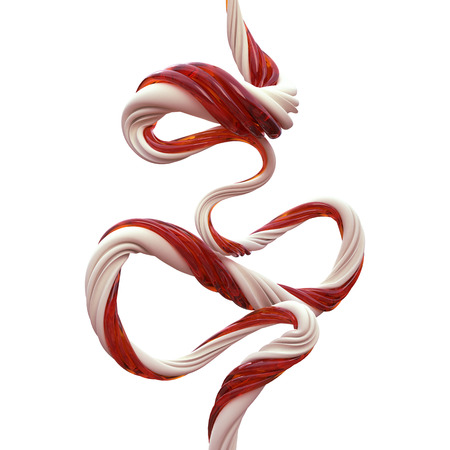 year curve: abstract 3d Christmas candy cane lines isolated