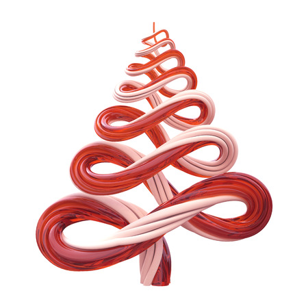 sweetshop: 3d Christmas tree candy cane lines isolated Stock Photo
