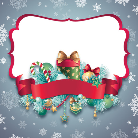 vintage Christmas blank banner template background photo
