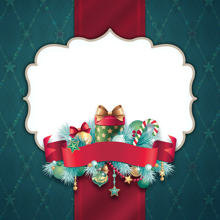 Christmas banner template, vintage background photo