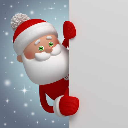 cartoon board: Santa Claus banner template, 3d cartoon character clip art Stock Photo
