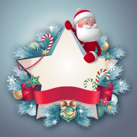 Christmas star greeting card template, 3d Santa Claus clip art photo