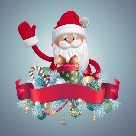 Santa Claus with gifts greeting banner, 3d cartoon clip art photo