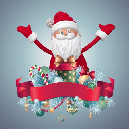 Santa Claus with gifts, 3d cartoon clip art photo
